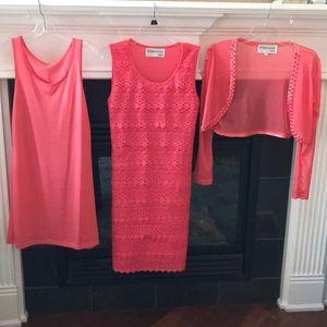 Francesca Bellini 3pc dress in coral